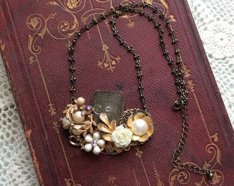 Vintage Assemblage Necklace Using Vintage Earrings & Watch Face / Item# N2263
