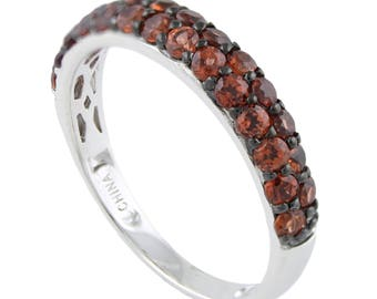 Sterling Silver 1.24ctw Red Garnet Band Ring SZ 7