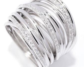 Sterling Silver Round White Zircon Multi Level Crossover Ring SZ 6,7