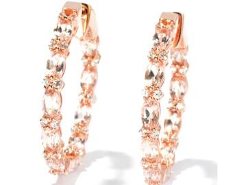 "18K RG o/ Silver 4.92ctw Morganite & Created White Sapphire Hoop Earrings, 1.5"""