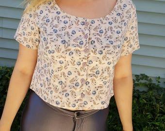 90's Floral Button-Up Crop Top