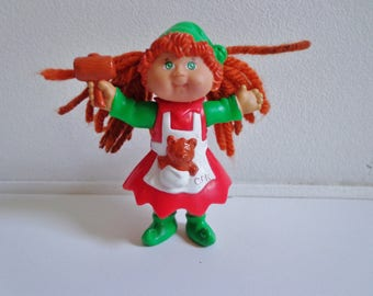 90s Cabbage Patch Kid Red Christmas Dress Mini Toy Figure Doll Cake Topper Decoration, Retro 80s
