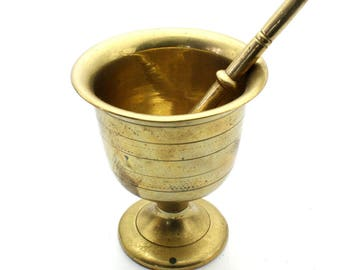 Antique Solid Brass Mortar and Pestle, Cast Brass Apothecary Mortar and Pestle