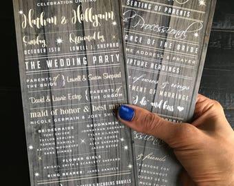 Rustic Wedding Programs | Custom Wedding Program Design | Wedding Ceremony | Bridal Party | Custom Programs for Wedding