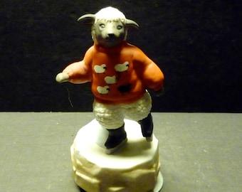 Sheep Iceskating Schmid Music box- rotates as plays
