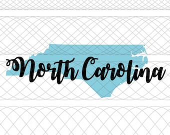 North Carolina State Outline and Script Name SVG, PNG, and STUDIO3 Cut Files for Silhouette Cameo/Portrait and Cricut Explore Craft Cutters