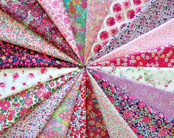"""LIBERTY fabric Tana Lawn 20  5"""" x 5"""" Patchwork Charm Squares 'Pink and Purple'"""