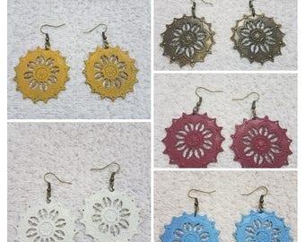 Painted Filigree Flower Earrings