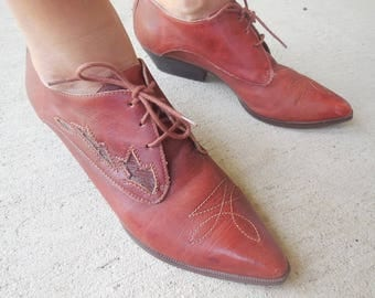 Vintage LEATHER pointed toe JORDACHE western low BOOTIES size 8