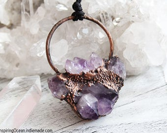 Shaman, witch electroformed copper and amethyst necklace pendant