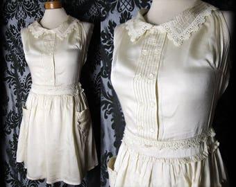 Goth Cream Lace Trim LIBERTINE Peter Pan Collar Tea Dress 8 10 Victorian Vintage