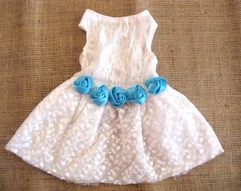 Wedding dog dress | Dog flower girl | Blue wedding | Something Blue | Blue flowers | Dog wedding dress