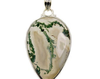 Forest Queen Moss Agate Pendant & .925 Sterling Silver Pendant AF502 The Silver Plaza