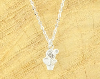 Dainty cactus necklace silver (rhodium plated)