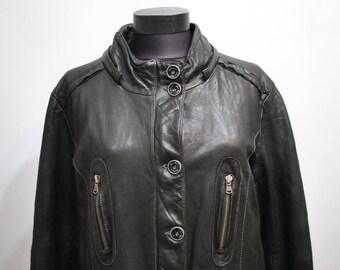 Vintage LEATHER COAT , women's leather parka ................(493)