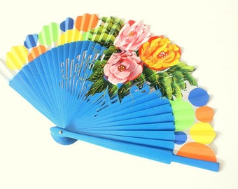 Hand Fans, hand fan, Abanico, turquoise, handpainted