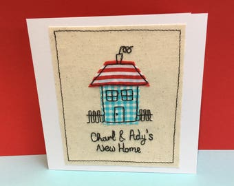 Personalised New Home Card - Embroidered New House Card - Housewarming Card - Moving House Card - Handmade Paper Greeting Card