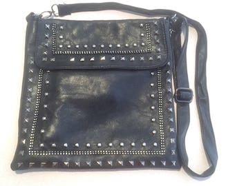 Vintage Black Leather Elaborately Studded Hobo Handbag, Black Leather Gunmetal Studded Cross Body Bag, Decorated Leather Large Purse