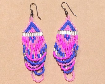 Woven Glass Bead Earrings, Vintage 80's Pink & Blue Dangle Earrings, Fashion Jewelry Long Beaded Earrings, Southwestern Style in 80's Colors