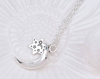 SPECIAL - Half Moon Star Charm Necklace/Pendant w/Chain