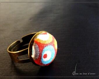 Blue red orange white fiber ring