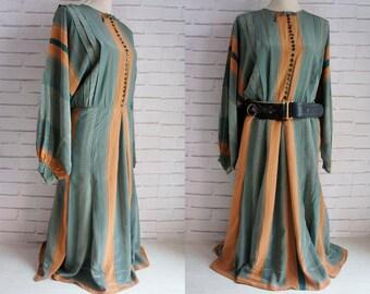 XL 80s Silk Vintage Dress - Mustard and olive green silk 80s vintage dress.