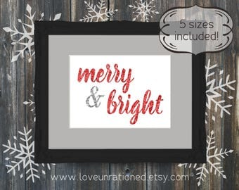 Merry & Bright, Merry and Bright, Printable Christmas Decor, Red Glitter, Christmas decor, holiday printable, holiday print, holiday decor