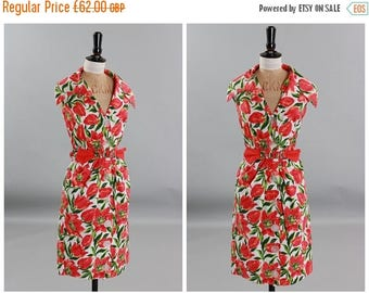 ON SALE Vintage original 1950s 50s 1960s 60s vibrant floral print cotton dress by Dolly Day UK 6 8 Us 2 4 Xs S