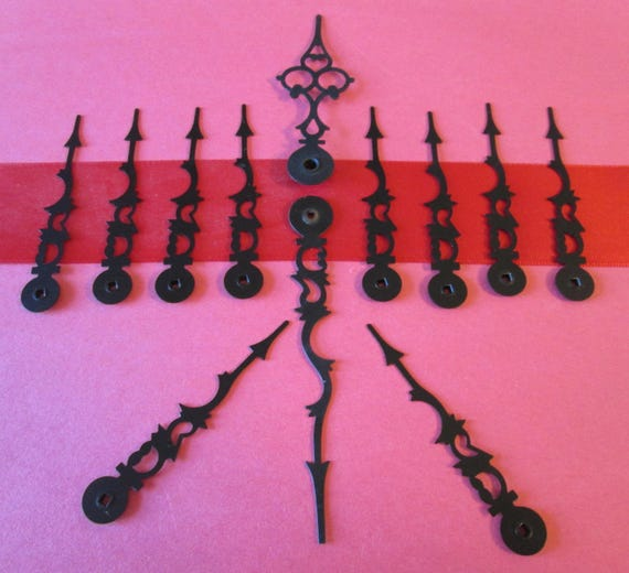12 Assorted Black Vintage Serpentine Clock Hands for your Clock Projects, Jewelry Making, Steampunk Art