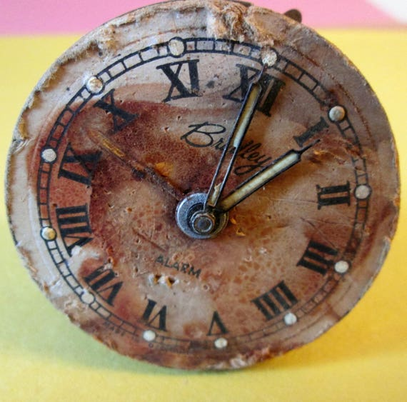 """Poor Old & Worn Small 2"""" Antique West German Bradley Partial Alarm Clock for Repairs - Steampunk Art - Crafts"""