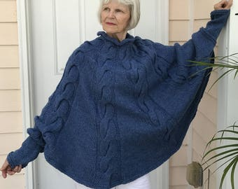 Two Poncho Knitting Patterns for one Price Using Bulky Yarn
