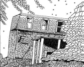 Crooked House, Pen and Ink Print Digital Download