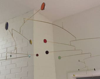 Calder-style Stained Glass Mobile - Rectilinear Design