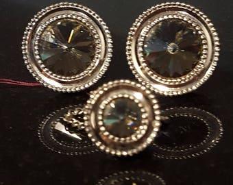 Massive rivoli crystal mad men designer vintage cufflinks wedding groom DA-12