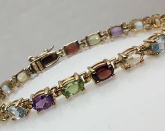 Vintage Sterling vermeil mult-gemstone bracelet