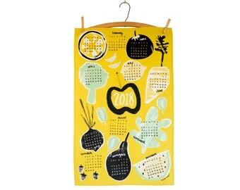 2018 Wall Calendar, 2018 Calendar, Linen Tea Towel Calendar with Fruits and Vegetables,Funny Kitchen Gift under 30, Hostess Gift