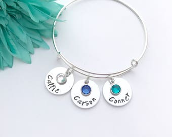 Mothers jewelry - personalized name bangle with Birthstone crystal on a Silver adjustable Bangle - name bangle - child