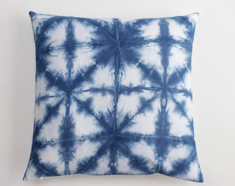 Tie dye Shibori Blue White Nautical Textile Batik Hand dyed Indigo Pillow Case