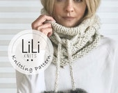 Pattern | LiLiKnits Knit Cabled Drawstring Cowl with fur poms | THE FILO COWL  | Instant Download