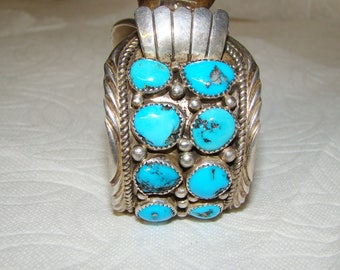 NA 3-C Sterling & Turquoise NA Watch Bracelet