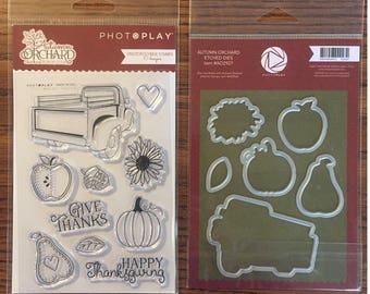 Photo Play AUTUMN ORCHARD Fall Theme Clear Polymer Stamps and Etched Dies Set