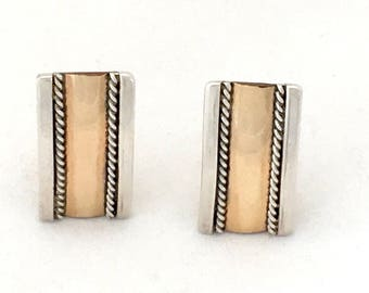 Rectangle Silver Gold Clip On Earrings, Minimalist Geometric Rectangular Mixed Metal Copper Silver Earrings, 925 Classy Couture Professional