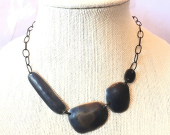 Abstract Dark Gray Necklace, Linked Asymmetrical Oval Chain Bib Statement Necklace, Gunmetal Grey Eclectic Metal