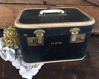 Vintage Train Case/Up-Cycle Project/Monogrammed/Navy