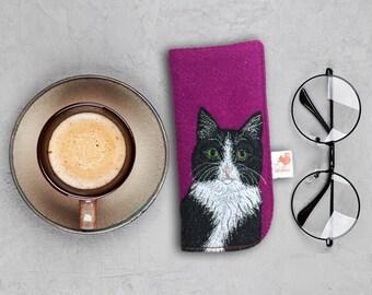 Cat glasses case -  deep pink Harris Tweed glasses case - embroidered cat - cat spectacle case - cat sunglasses case - tuxedo cat case