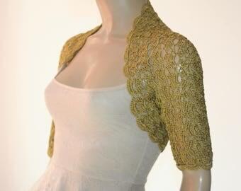 Wedding  crochet shrug/ Green mustard bolero shrug//Bolero jacket/Lace shrug/Bridal shoulders cover/Bridesmaids Cover up Bolero