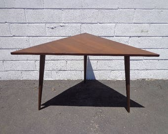 table mid century modern triangle accent end side table entry way coffee living room retro vintage