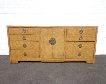Dresser Burl Wood Cabinet Console Entry Table Tv Stand Media Milo Baughman Buffet Mid Century  Regency Vintage Furniture CUSTOM PAINT AVAIL
