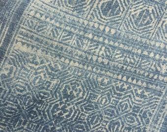 Hand woven Hmong hemp batik fabric natural indigo (H275)
