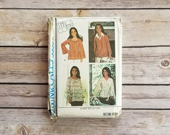 Flare Sleeved Top Plus Size Large Size Women McCalls 5300 Carefree Patterns Marlos Corner Misses Set of Tops 1970s Relaxed Shirt Size 18